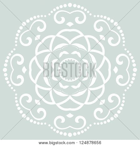 Oriental vector blue and white round pattern with arabesques and floral elements. Traditional classic ornament
