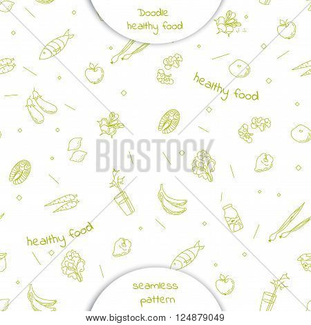 Seamless Pattern With Doodle Hand Drawn Healthy Food
