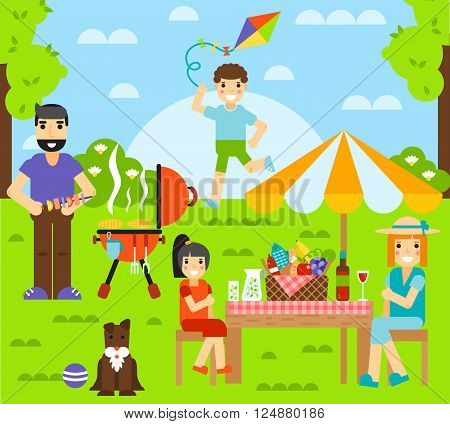 Outdoor family together and happy fun outdoor family. Happy outdoor family have rest with dog. Friends friendship outdoor family dining people together happy fun concept vector illustration.