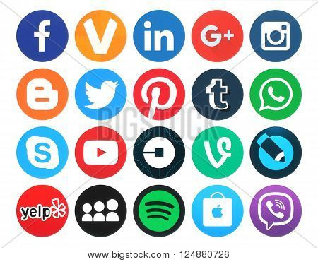 Kiev Ukraine - March 18 2016: Collection of popular 20 round social media logos printed on paper:Facebook Twitter Google Plus Instagram MySpace LinkedIn Pinterest Tumblr and others
