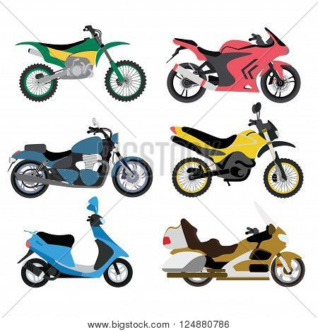 Motorcycles ride sport and cycle transportation motorcycles. Extreme classic motorcycles fast motocross custom. Motorcycle types multicolor motorbike ride speed sport transport vector illustration.