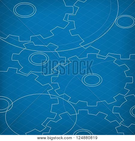 Blueprint of Cogs. Blueprint abstract background. Different Gears outline. Technology abstract background.