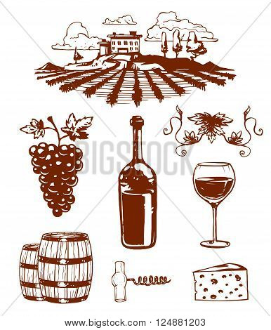 Vinery farm and vinery grape agriculture. Vinery agriculture working beverage. Traditional vinery farm production with grape press and red wine bottle line icons collection nature vector illustration.