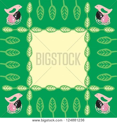 nests of the spring birds vector frame