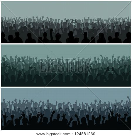 Concert crowd silhouette large group people raising hands. Hand silhouettes in air fans concert. Audience with hands silhouette raised music festival and concert streaming down from above stage vector