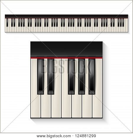 Realistic piano keys isolated on a white background. Octave. Piano set, piano design, piano web, piano art, piano app, piano icon, piano keys, music icon. Vector EPS10 illustration.