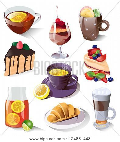 Collection of desserts, sweets and drinks  isolated on white