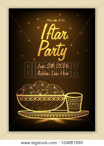 Shiny Invitation Card design with golden illustration of dates for Ramadan Kareem, Iftar Party celebration.