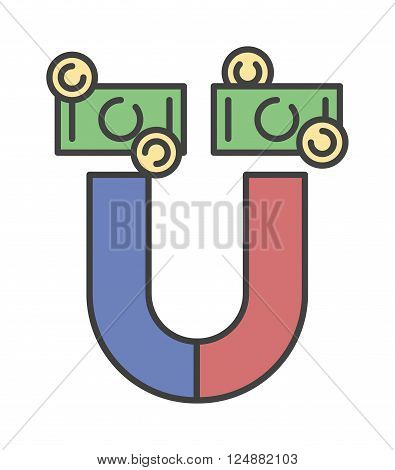 Magnet attract money concept and magnet money business success. Power attract currency investment magnet money. Attracting investments concept money business success dollar magnet vector illustration.