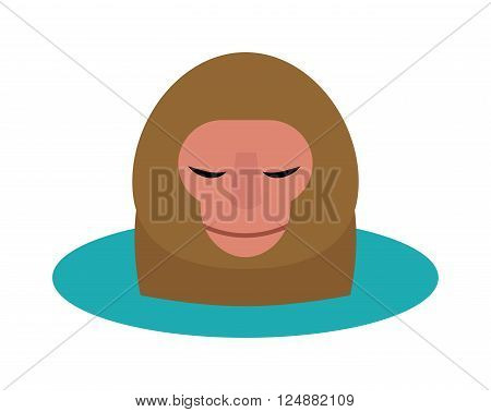 Monkey head and nature zoo monkey head. Primate design monkey head, cute portrait art graphic monkey head animal face. Vector illustration of monkey head cartoon style wild mammal chimpanzee.