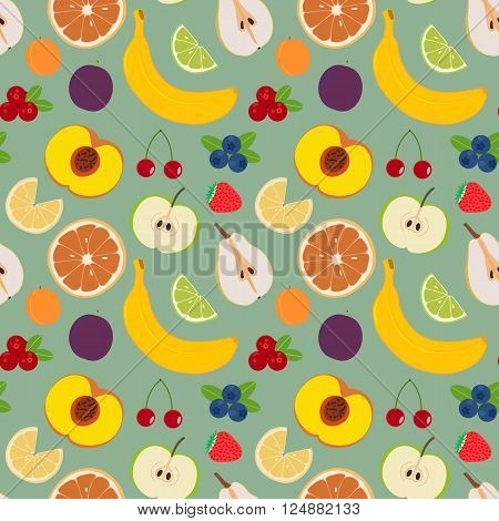 Fruits and berries seamless pattern 4. Illustration of some fruits citruses and berries