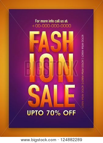 Fashion Sale Poster, Sale Banner, Sale Flyer, Upto 70% Discount Offer, Glossy vector illustration.