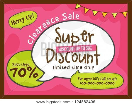 Super Discount, Clearance Sale Poster, Sale Banner, Sale Flyer, Save upto 70%, Creative vector illustration.