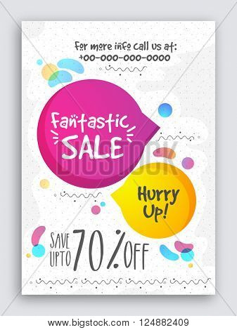 Fantastic Sale Poster, Sale Banner, Sale Flyer, Save upto 70%, Vector illustration.