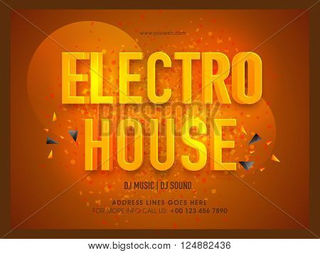 Club Party Poster, Banner or Flyer design with 3D golden text Electro House on shiny brown background.