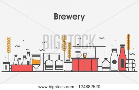 One page web design template with Flat line icons of Family Brewery Factory Production, Beer Brewing Process, Traditional Beer Crafting. Modern Hero Image concept, Website elements layout.