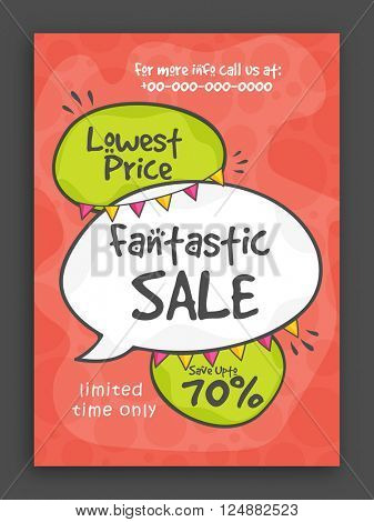 Fantastic Sale Poster, Sale Banner, Sale Flyer, Lowest Price Offer, Save upto 70% for Limited Time.
