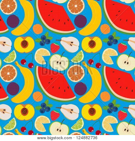 Fruits and berries seamless pattern 2. Illustration of some fruits citruses and berries