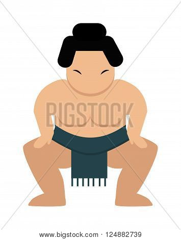 Sumo wrestler japanese and fat sumo wrestler. Wrestling strong sumo wrestler sport and culture power competitive traditional athlete. Angry cartoon japanese fat sumo wrestler vector illustration.
