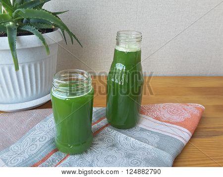 Aloe leaves juice for health, vegetarian diet