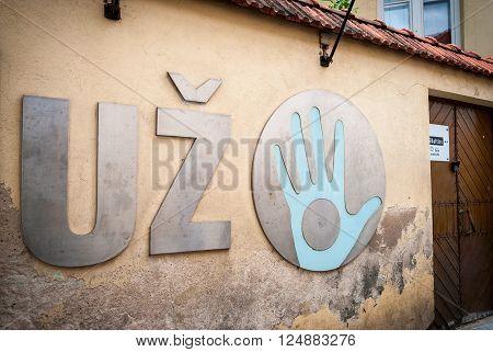VILNIUS, LITHUANIA - JULY 15: Uzupis republic sign Vilnius Lithuania. Uzupis is autonomous artistic commnunity. July 2015