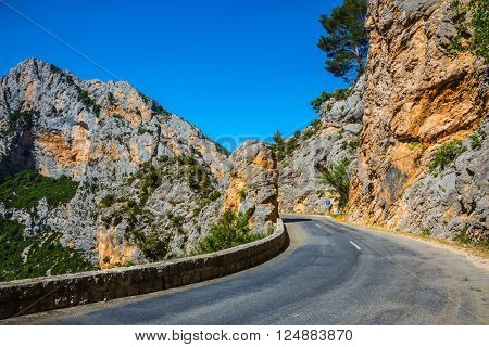 Sharp mountain highway. The largest alpine canyon Verdon, Provence, France