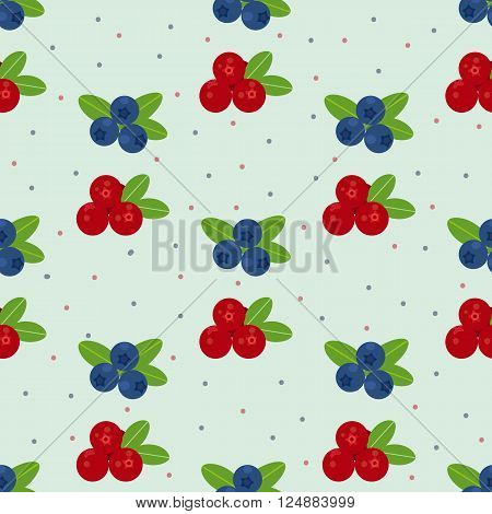 Cranberry and blueberry seamless pattern 1. Or illustration of cowberry and blackberry. Berries seamless pattern.