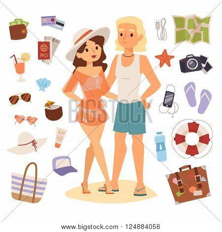 Summer beach tropical symbols and tourism summer beach symbols. Nature summer vacation people with sunglasses, bags, clothes and beach symbols. Summer beach travel sea symbols vector illustration.
