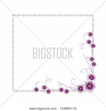 Beautiful square frame with mallow flowers and pearls isolated on white background for greeting card or invitation design.