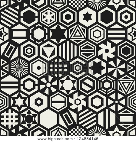 Geometric seamless pattern with white hexagons. Vector hexagonal pattern.