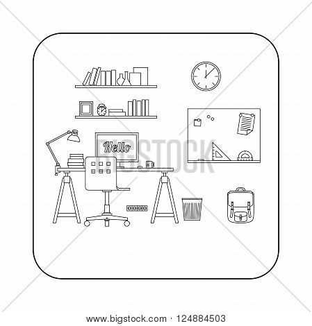 Workplace in room. Vector line illustration of workspace.