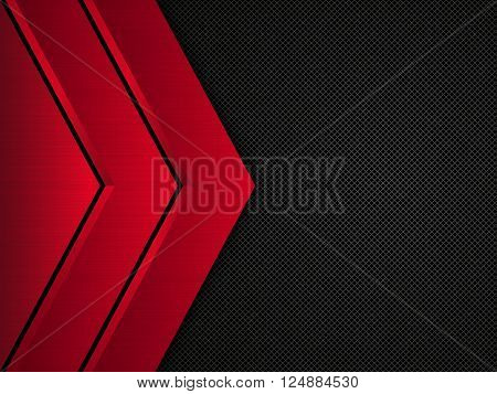Black and red metallic background, Vector metallic banner. Abstract technology background EPS10