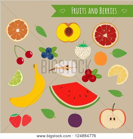 Fruits and berries set. Illustration of some summer fruits and forest berries.