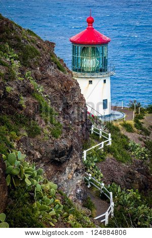 Makapu'u Lighthouse on Oahu's Eastside in Hawaii along the Pacific Ocean
