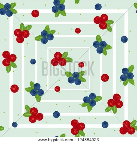 Cranberry and blueberry seamless pattern 2. Or illustration of cowberry and blackberry. Berries seamless pattern.