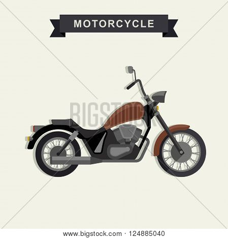 Chopper motorcycle in flat style. Vector illustration of american chopper.