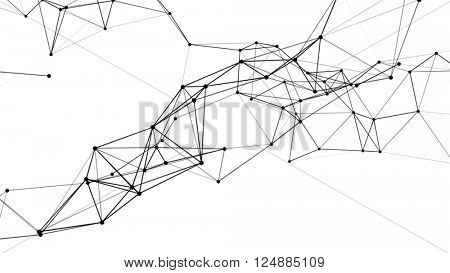 Abstract technology futuristic network - fantasy plexus background. 3D rendering.