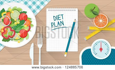 Food diet healthy lifestyle and weight loss banner with a dish of salad table set and scale