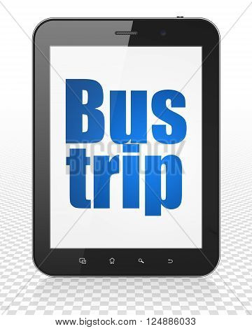 Tourism concept: Tablet Pc Computer with Bus Trip on display
