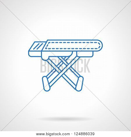 Laundry equipment and objects. Empty ironing board. Household elements. Flat blue line style vector icon. Single design element for website, business.