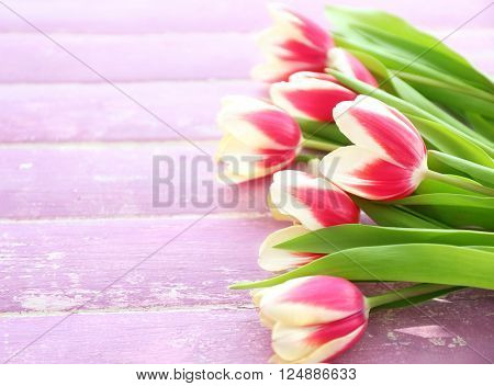Bouquet of variegated tulips on wooden background