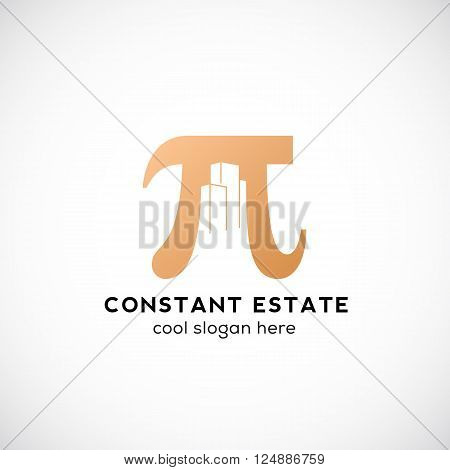 Constant Estate Abstract Vector Icon, Label or Logo Template. Pi Sign with Negative Space Buildings. Isolated.