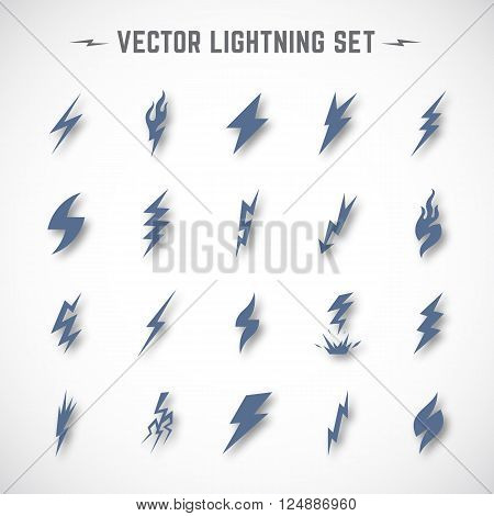 Vector Lightning or Blizzard Icon Set in Material Design with Soft Realistic Shadows. Isolated.