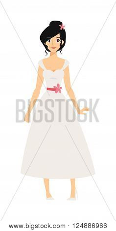 Bride girl in white dress and modern bride girl. Bride girl model bridal pretty glamour romantic lady. Woman wearing wedding white dress fashion bride girl luxury young person character vector.