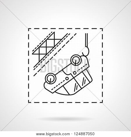 Automobile evacuation. Car hanging on tow. Car insurance cases. Flat line style vector icon. Single design element for website, business.