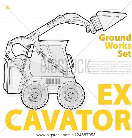 Construction machinery silhouette background. Black and orange set of ground works. Machines work in progress. Vehicle building equipment. Digger Bagger Excavator. Flatten isolated vector illustration