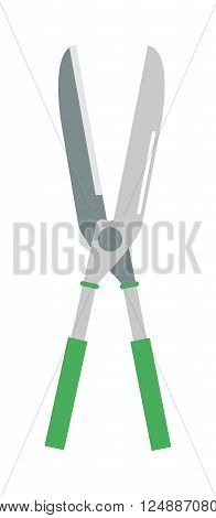 Gardening scissors hand work and steel gardening scissors equipment. Gardening scissors pruning sharp handle. Garden hobby cutter equipment plant. Gardening scissor metal cut tool equipment vector.
