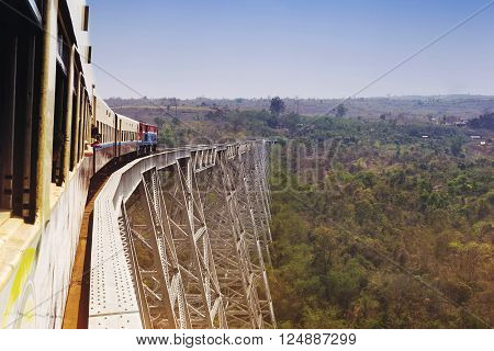 Train ride over famous Goteik viaduct, the second-highest railway bridge in the world, between the towns of Pyin U Lwin and Lashio in Shan State, Myanmar (Burma).