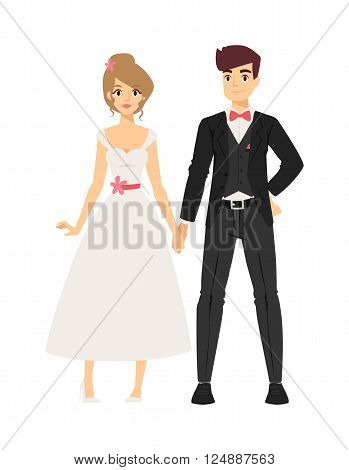 Wedding couple people vector illustration. Wedding couple isolated on white background. Wedding couple vector icon illustration. Wedding couple isolated vector. Wedding couple silhouette
