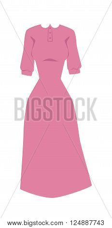 Fashion pink dress and long pink dress with long sleeves. Elegant classic pink summer dress pretty clothing. Bright pink hanger dress beauty and fashion women glamour series flat vector illustration.